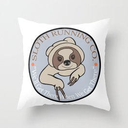Sloth Running Co. Throw Pillow