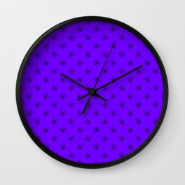Black on Indigo Violet Snowflakes Wall Clock