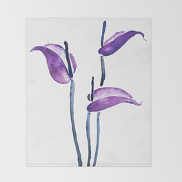 three purple flamingo flowers Throw Blanket