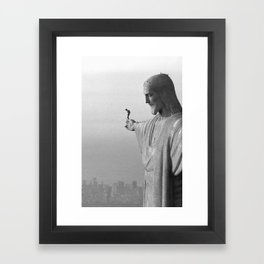Christ the Redeemer, Rio de Janeiro, Brazil death defying dare devil black and white photography Framed Art Print