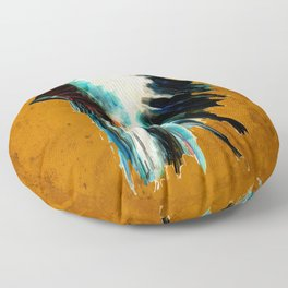 Native Headdress Orange Edit Floor Pillow