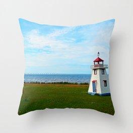 Long Bridge and Tiny Lighthouse Throw Pillow
