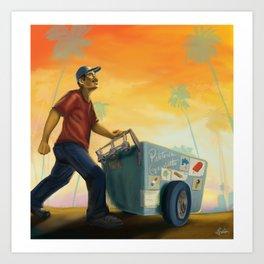 Paletero On the Move in the LA Sunset Art Print