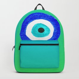 Single Evil Eye Amulet Talisman Ojo Nazar - ombre lime to tuquoise Backpack