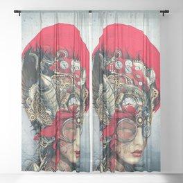 Steampunk Girl Sheer Curtain