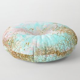 Pink and Gold Mermaid Sea Foam Glitter Floor Pillow