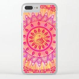 Sun Kissed Mandala Orange Pink Clear iPhone Case