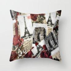 Postcards from Paris Throw Pillow