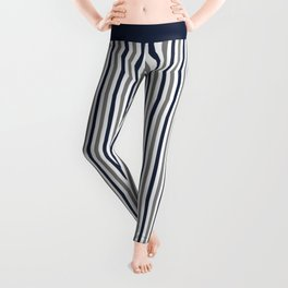 Navy White And Grey Vertical Stripes Leggings
