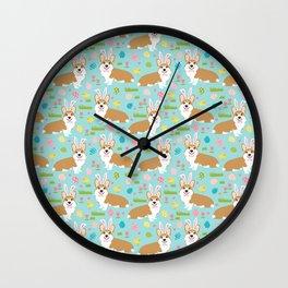Corgis Easter - cute pastel spring corgi fabric Wall Clock