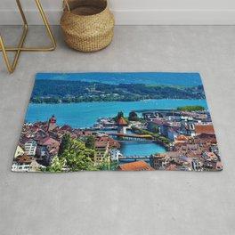 Lake Lucerne, Switzerland Chapel Covered Bridge Rug