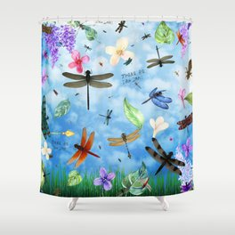 There Be Dragons Whimsical Dragonfly Art Shower Curtain