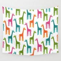 giraffes Wall Tapestries featuring Giraffes by ts55