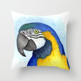 Vibrant watercolor parrot Throw Pillow