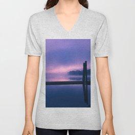 Serene Purple and Pink Waterfront Sunrise Landscape Unisex V-Neck