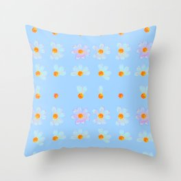 Love Me Not | Blue Daisy Flowers, Real Pressed Flowers, Pastel, Wildflowers, Photo Throw Pillow