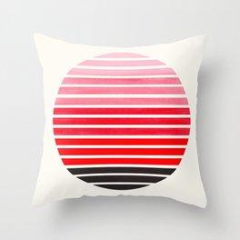 Red Mid Century Modern Minimalist Scandinavian Colorful Stripes Round Circle Frame Throw Pillow