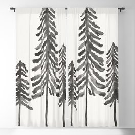Pine Trees – Black Ink Blackout Curtain