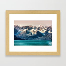 Scenic Alaskan nature landscape wilderness at sunset. Melting glacier caps. Framed Art Print