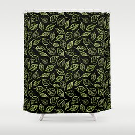 Green and black leaves pattern Shower Curtain