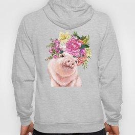 Flower Crown Baby Pig in Blue Hoody