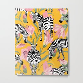 Striped For Life, Zebra Mid-Century Modern Bohemian Illustration, Jungle Tropical Eclectic Painting Metal Print