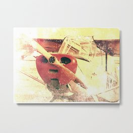 Little Red Biplane // Airplane Metal Print