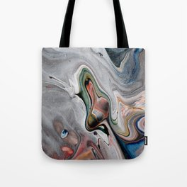 Navy Flow II - Blue Multicolor Fluid Pour Painting Tote Bag