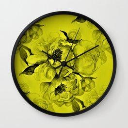 Chartreuse & Black Peonies Wall Clock
