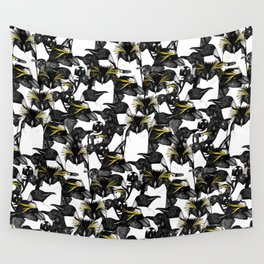 just penguins black white yellow Wall Tapestry