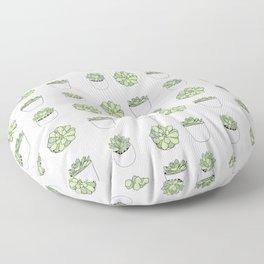 Green and pink suculents in flowerpots Floor Pillow