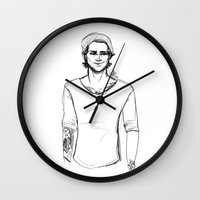 zayn Wall Clocks featuring Pencil Zayn by maestolenpencil