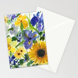 daffodil, iris and sunflower Stationery Cards