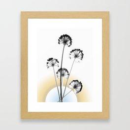 black and white flower wallpaper and the sun, flower decor, printable art Framed Art Print