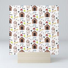 Shih Tzu Dog Half Drop Repeat Pattern Mini Art Print