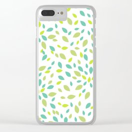 Spring Leaves Pattern Clear iPhone Case