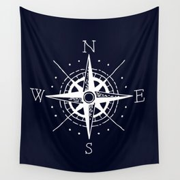 Navy Nautical - White Compass Wall Tapestry