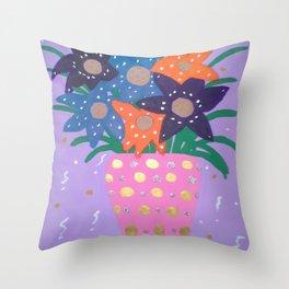 Fiesta Flowers Modern Still Life Throw Pillow