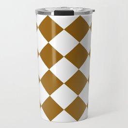 Large Diamonds - White and Golden Brown Travel Mug