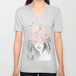 She Wore Flowers in Her Hair Rose Gold by Nature Magick Unisex V-Neck