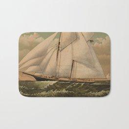 Vintage Schooner Yacht Illustration (1882) Bath Mat