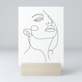 Abstract Face Drawing Sketch Art, Woman In One Line, Fashion Illustration Mini Art Print