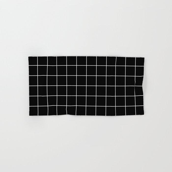 Grid Line Stripe Black and White Minimalist Geometric Hand & Bath Towel