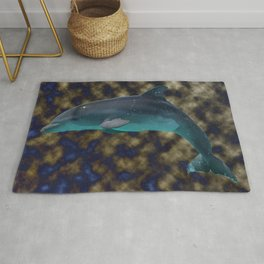 Bowing in shades of blue and gold Rug
