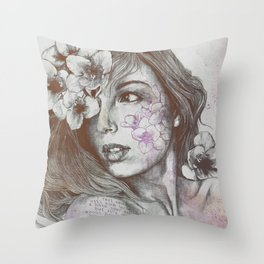 Mascara: Violet (freesia tattoo lady portrait) Throw Pillow