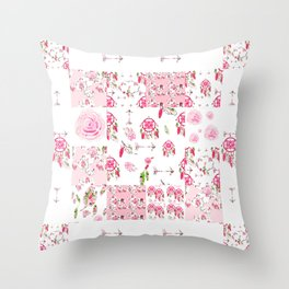 Shabby Chic Dream Catcher and feather Patchwork Throw Pillow