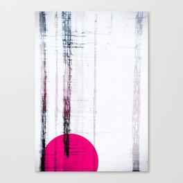 Pink Circle Straight Lines Abstract Black and White Canvas Print