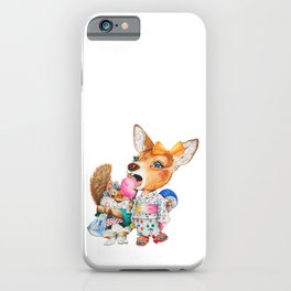 A child deer and squirrel at the summer festival iPhone Case