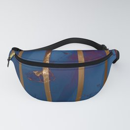 Electric Blue Abstract with Gold Stripes Fanny Pack