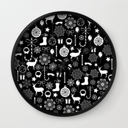 Christmas seamless pattern new year elements on black background Wall Clock